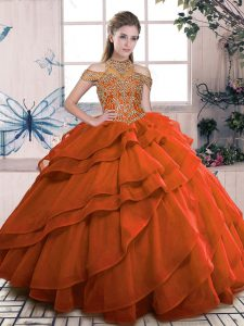 Modest Orange High-neck Neckline Beading and Ruffled Layers Ball Gown Prom Dress Sleeveless Lace Up