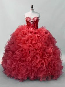 Floor Length Lace Up Sweet 16 Dress Red for Sweet 16 and Quinceanera with Sequins