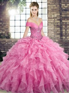 Rose Pink Vestidos de Quinceanera Off The Shoulder Sleeveless Brush Train Lace Up