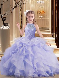 Beautiful Lavender Little Girl Pageant Gowns High-neck Sleeveless Brush Train Lace Up
