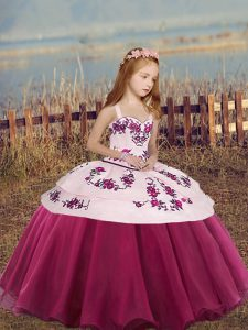 Fuchsia Lace Up Straps Embroidery and Bowknot Kids Pageant Dress Sleeveless