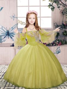 Floor Length Olive Green Pageant Dress Tulle Sleeveless Beading