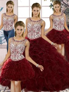 Sexy Burgundy 15th Birthday Dress Military Ball and Sweet 16 and Quinceanera with Beading and Ruffles Scoop Sleeveless Lace Up