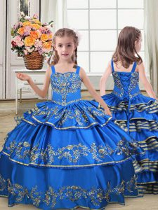 Wonderful Royal Blue Satin Lace Up Straps Sleeveless Floor Length Kids Pageant Dress Embroidery and Ruffled Layers