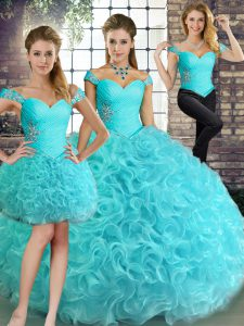 Aqua Blue Ball Gown Prom Dress Military Ball and Sweet 16 and Quinceanera with Beading Off The Shoulder Sleeveless Lace Up