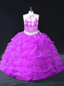 Beauteous Purple Backless Quinceanera Gowns Beading and Pick Ups Sleeveless Floor Length