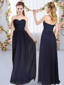 Admirable Floor Length Empire Sleeveless Navy Blue Quinceanera Court Dresses Zipper