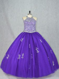 Purple Sleeveless Tulle Lace Up Sweet 16 Dresses for Sweet 16 and Quinceanera