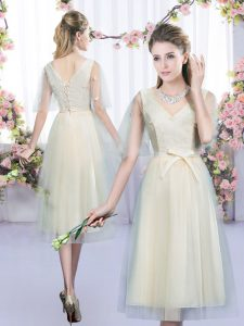 Low Price Champagne Empire Lace and Bowknot Quinceanera Dama Dress Lace Up Tulle Sleeveless Tea Length