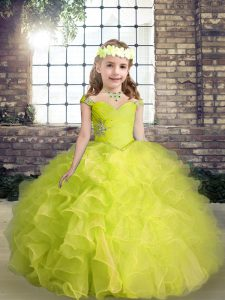 Beading and Ruffles Kids Pageant Dress Yellow Green Lace Up Sleeveless Floor Length