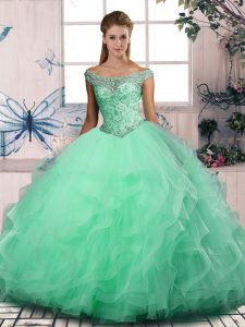 Charming Apple Green Sleeveless Floor Length Beading and Ruffles Lace Up 15th Birthday Dress