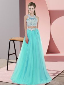 Aqua Blue Two Pieces Tulle Halter Top Sleeveless Lace Floor Length Zipper Dama Dress