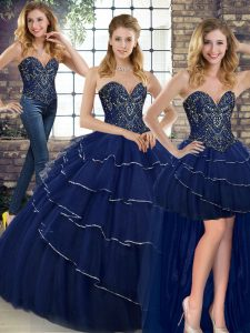 Navy Blue Sweet 16 Quinceanera Dress Sweetheart Sleeveless Brush Train Lace Up
