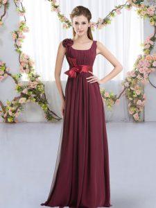 Flare Burgundy Sleeveless Floor Length Belt and Hand Made Flower Zipper Dama Dress