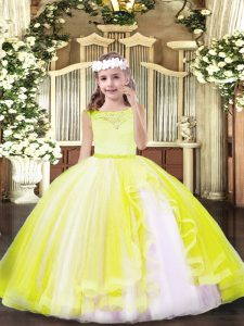 Exquisite Yellow Ball Gowns Tulle Scoop Sleeveless Lace Floor Length Zipper Pageant Dress Toddler