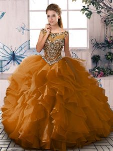 Deluxe Organza Sleeveless Floor Length Quince Ball Gowns and Beading and Ruffles