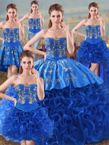 Vintage Sweetheart Sleeveless Lace Up Quinceanera Gown Royal Blue Fabric With Rolling Flowers