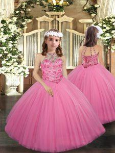 Rose Pink Sleeveless Beading Floor Length Little Girls Pageant Dress Wholesale