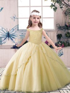 New Arrival Champagne Off The Shoulder Lace Up Beading Pageant Dress Toddler Sleeveless