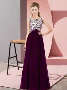 Excellent Dark Purple Dama Dress for Quinceanera Wedding Party with Beading and Appliques Scoop Sleeveless Zipper