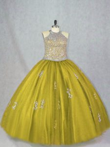 Suitable Olive Green Ball Gowns Tulle Halter Top Sleeveless Beading and Appliques Floor Length Lace Up Sweet 16 Dress