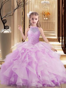 High Quality Lilac Ball Gowns High-neck Sleeveless Tulle Floor Length Lace Up Beading Pageant Dresses