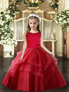 Floor Length Red Little Girl Pageant Gowns Scoop Sleeveless Lace Up