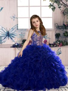 Lovely Sleeveless Beading and Ruffles Lace Up Girls Pageant Dresses