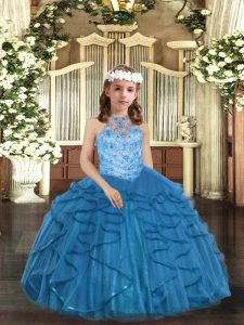 Discount Halter Top Sleeveless Lace Up Little Girls Pageant Gowns Blue Tulle