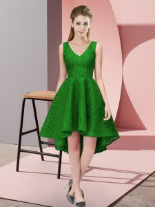 Customized High Low A-line Sleeveless Green Quinceanera Court of Honor Dress Zipper