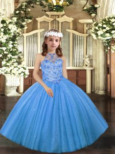 Floor Length Baby Blue Little Girl Pageant Dress Halter Top Sleeveless Lace Up