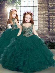 Charming Peacock Green Lace Up Straps Beading and Ruffles Girls Pageant Dresses Tulle Sleeveless