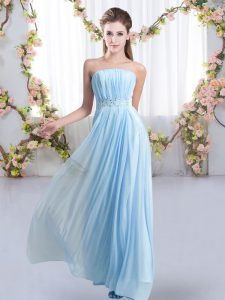 Romantic Baby Blue Strapless Neckline Beading Vestidos de Damas Sleeveless Lace Up