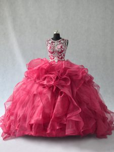 Pretty Scoop Sleeveless Lace Up 15 Quinceanera Dress Red Organza