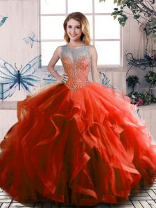 Best Rust Red Sleeveless Beading and Ruffles Floor Length Quinceanera Dress