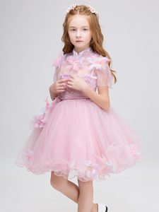 Mini Length Ball Gowns Short Sleeves Baby Pink Evening Gowns Zipper