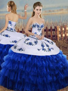 Super Sleeveless Floor Length Embroidery and Ruffled Layers Lace Up 15th Birthday Dress with Royal Blue