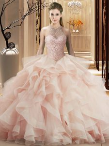 Pink Organza Lace Up Halter Top Sleeveless Quince Ball Gowns Brush Train Beading and Ruffles
