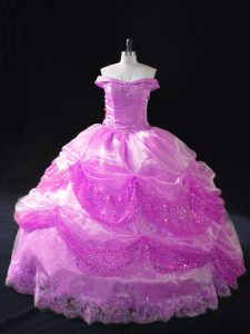 High Quality Lilac Off The Shoulder Lace Up Beading and Appliques and Pick Ups 15th Birthday Dress Sleeveless