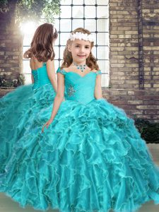 Organza Straps Sleeveless Lace Up Beading and Ruffles Girls Pageant Dresses in Aqua Blue