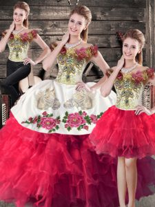 Nice Pink And White Sleeveless Floor Length Embroidery and Ruffles Lace Up Quinceanera Dress