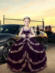 Dark Purple Satin Lace Up Straps Sleeveless Floor Length Little Girls Pageant Dress Embroidery