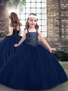 Glamorous Navy Blue Lace Up Little Girls Pageant Dress Wholesale Beading Sleeveless Floor Length