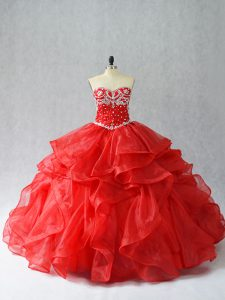 Glittering Floor Length Red Quinceanera Dresses Organza Sleeveless Beading and Ruffles