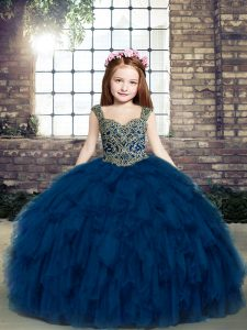 Navy Blue Ball Gowns Straps Sleeveless Beading and Ruffles Floor Length Lace Up Little Girls Pageant Dress