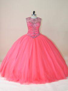 Custom Design Tulle Sleeveless Floor Length Sweet 16 Dresses and Beading