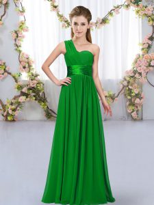Top Selling Dark Green Chiffon Lace Up Dama Dress for Quinceanera Sleeveless Floor Length Belt