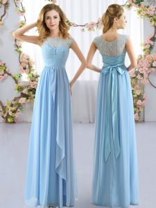 Light Blue Cap Sleeves Chiffon Side Zipper Dama Dress for Wedding Party