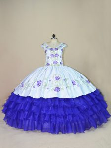 Popular V-neck Cap Sleeves Lace Up Quince Ball Gowns White And Purple Satin and Organza