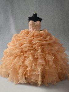 Deluxe Sleeveless Beading and Ruffles and Pick Ups Lace Up Vestidos de Quinceanera